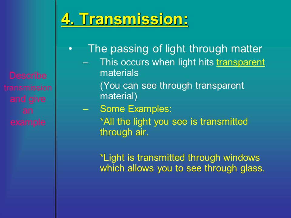 Describe transmission and give an example