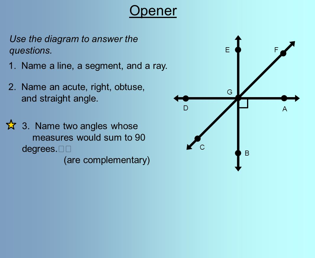 opener use the diagram to answer the questions