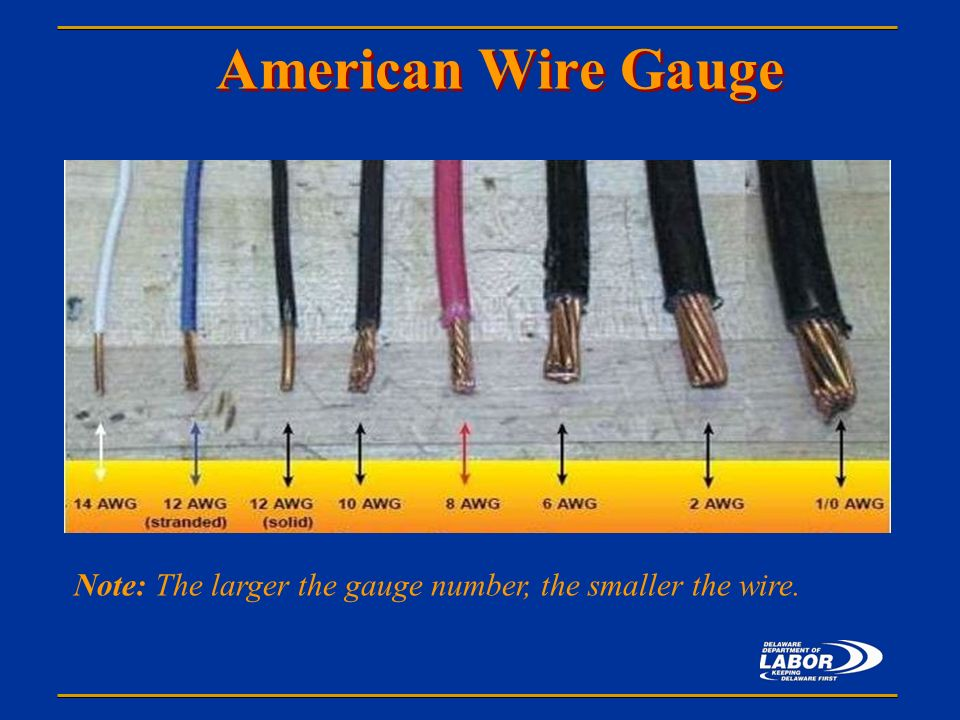 Office of safety health consultation presents ppt video online 27 american wire gauge notes note the larger the gauge number the smaller the wire greentooth Gallery