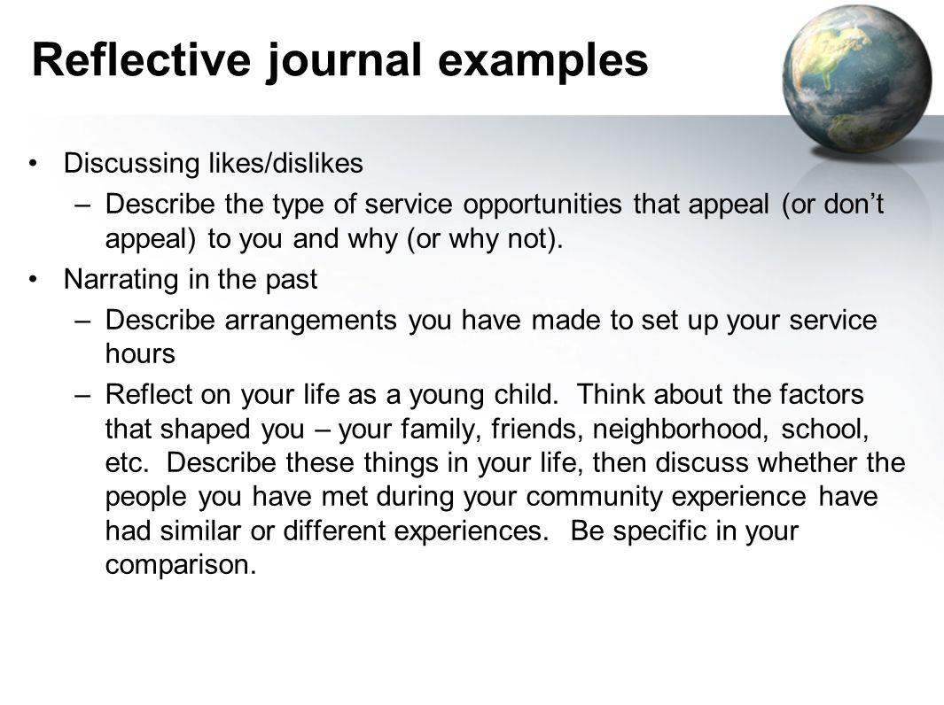 reflective journal community service