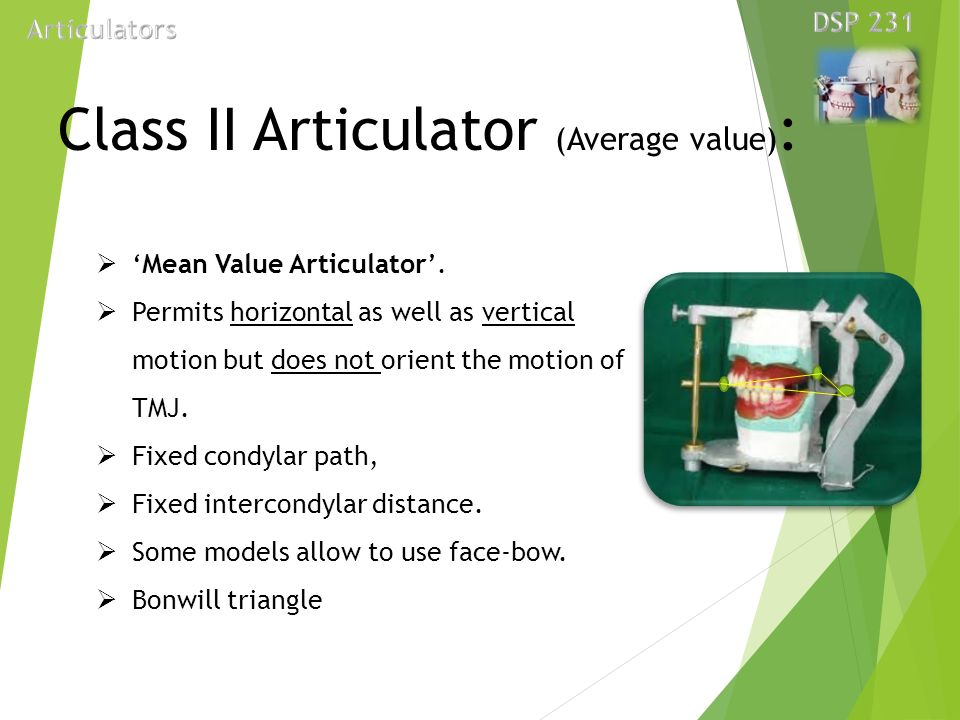 Dental articulator presented by dr tushar bhagat ppt video class ii articulator average value ccuart Images