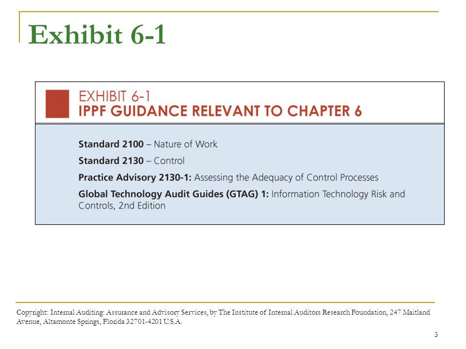 Chapter 6 internal control ppt download 3 exhibit 6 1 copyright internal auditing assurance and advisory services fandeluxe Image collections