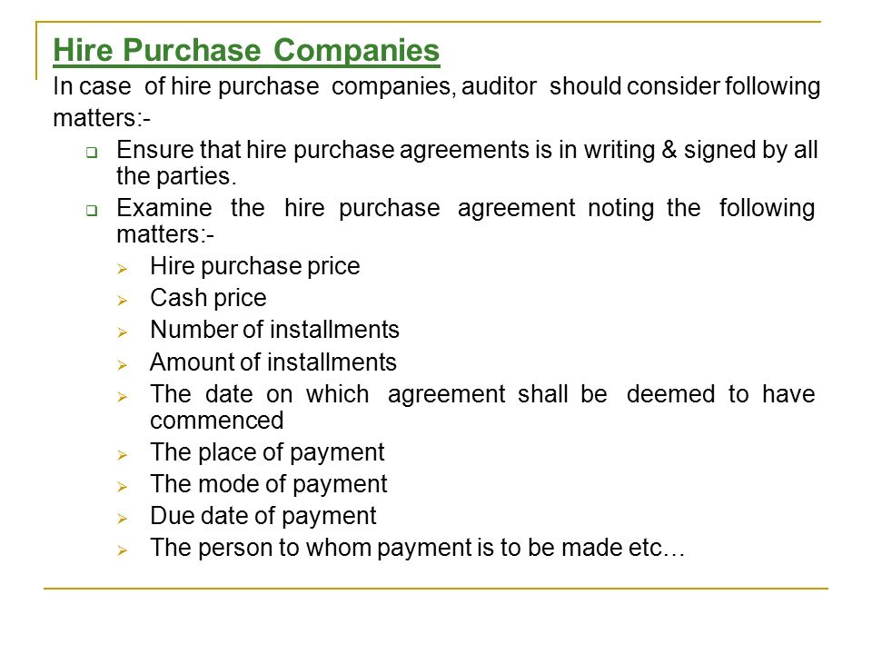 Audit Of Hire Purchase Leasing Company Ppt Video Online Download