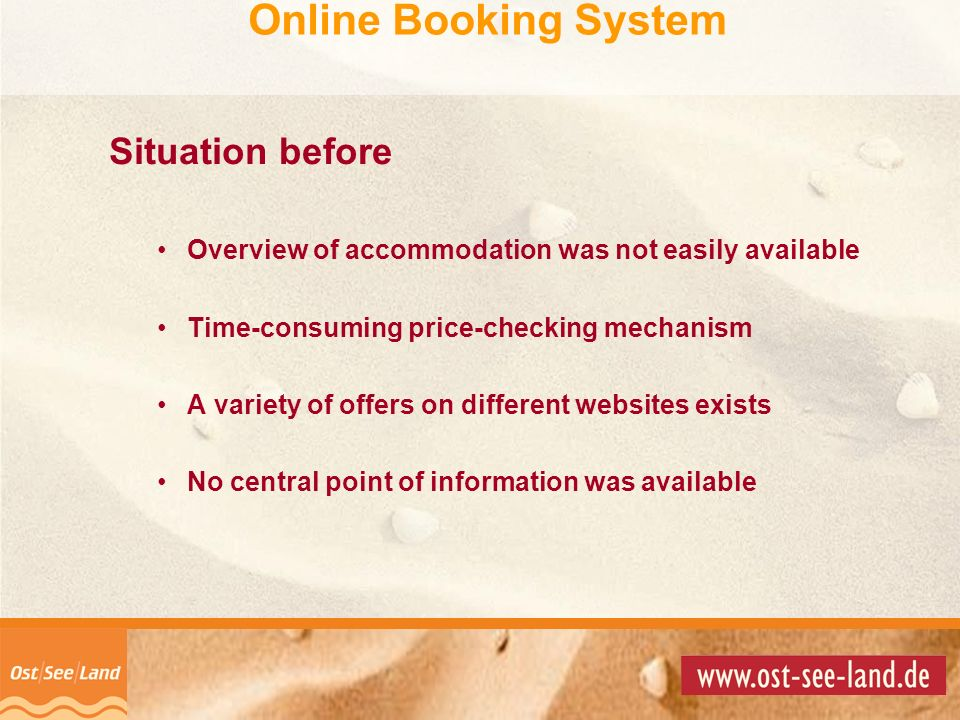 Online Booking System Situation before