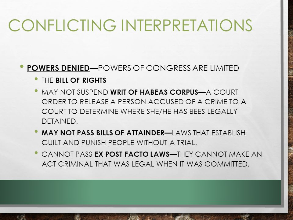 Government Ch 6 Congressional Powers Ppt Video Online Download. 8 Conflicting Interpretations. Worksheet. How A Bill Bees A Law Worksheet At Mspartners.co