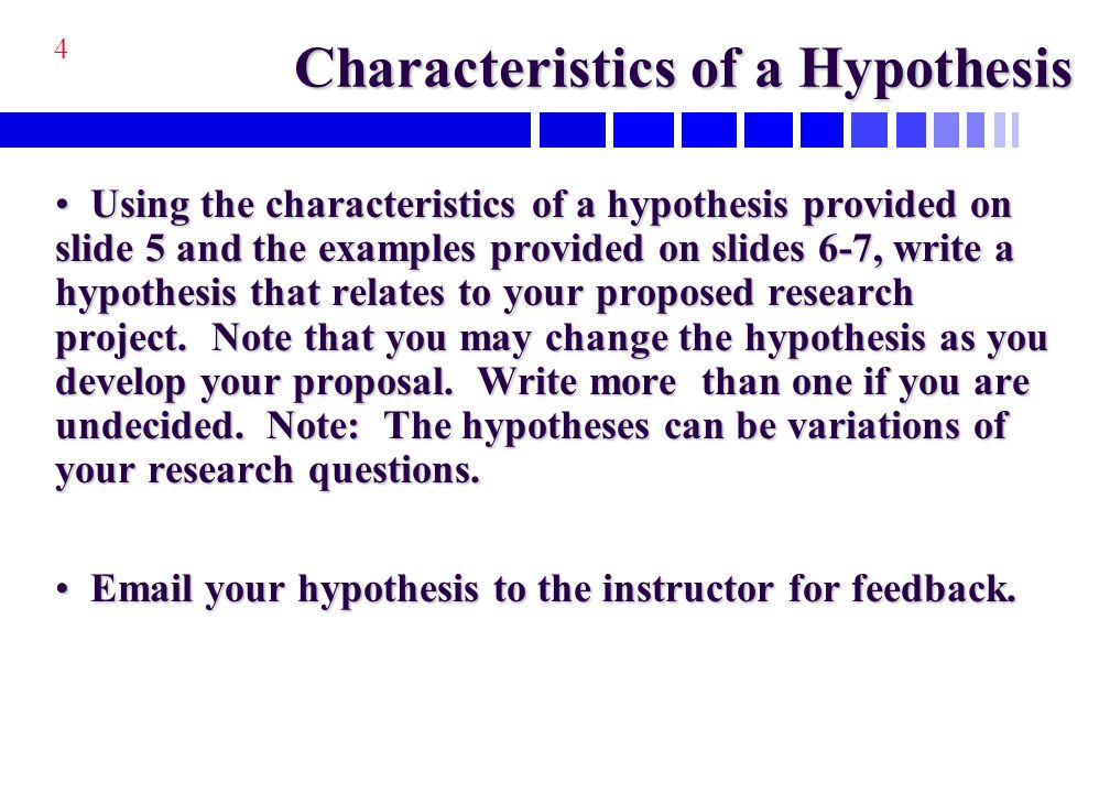 characteristics of hypothesis with examples