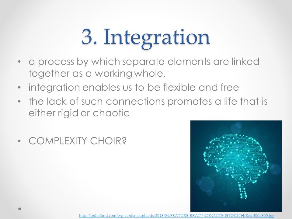 3. Integration a process by which separate elements are linked together as a working whole. integration enables us to be flexible and free.