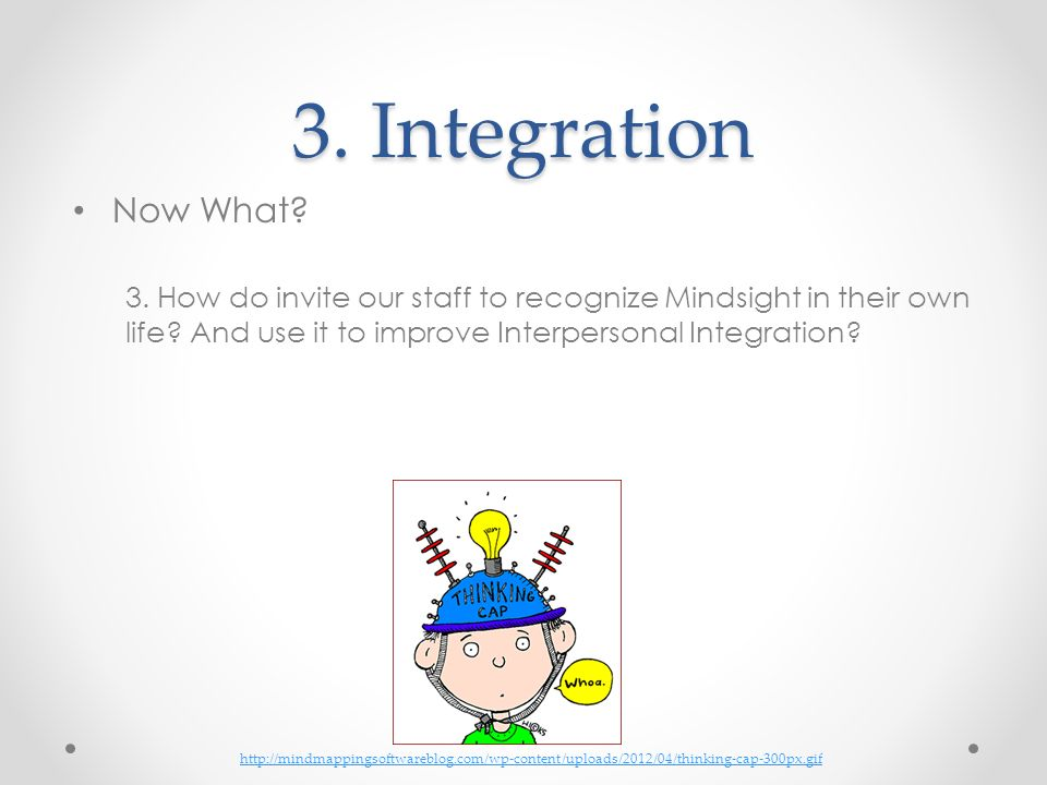 3. Integration Now What 3. How do invite our staff to recognize Mindsight in their own life And use it to improve Interpersonal Integration