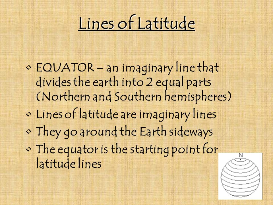 Lines of Latitude EQUATOR – an imaginary line that divides the earth into 2 equal parts (Northern and Southern hemispheres)