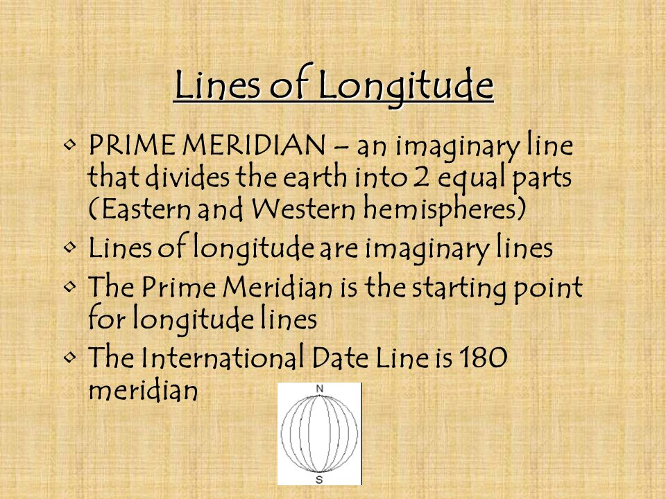 Lines of Longitude PRIME MERIDIAN – an imaginary line that divides the earth into 2 equal parts (Eastern and Western hemispheres)
