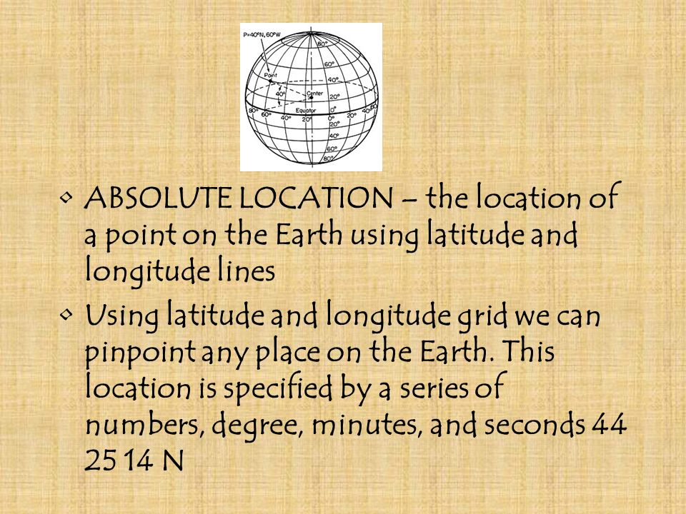ABSOLUTE LOCATION – the location of a point on the Earth using latitude and longitude lines