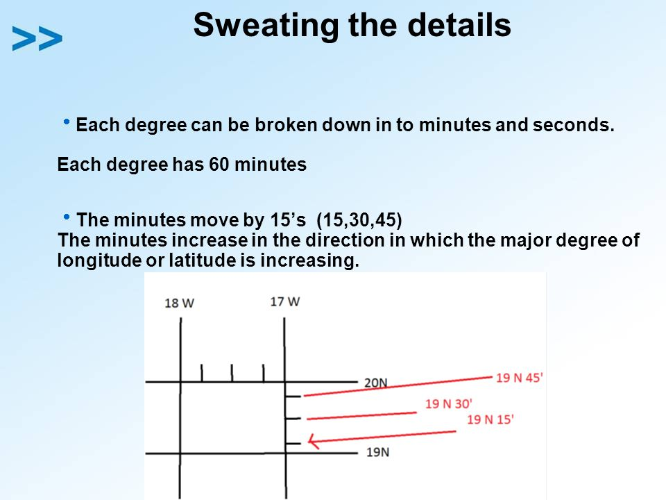 Sweating the details Each degree can be broken down in to minutes and seconds. Each degree has 60 minutes.