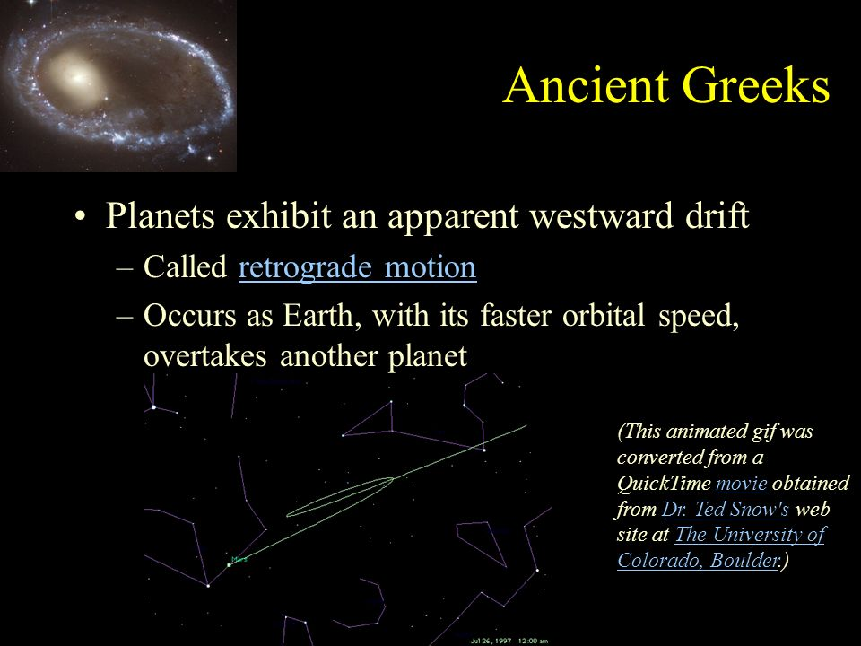 the apparent westward movement of a planet is known as