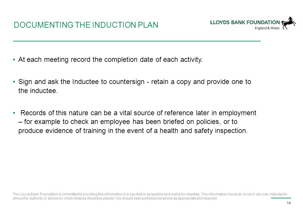 induction plan example