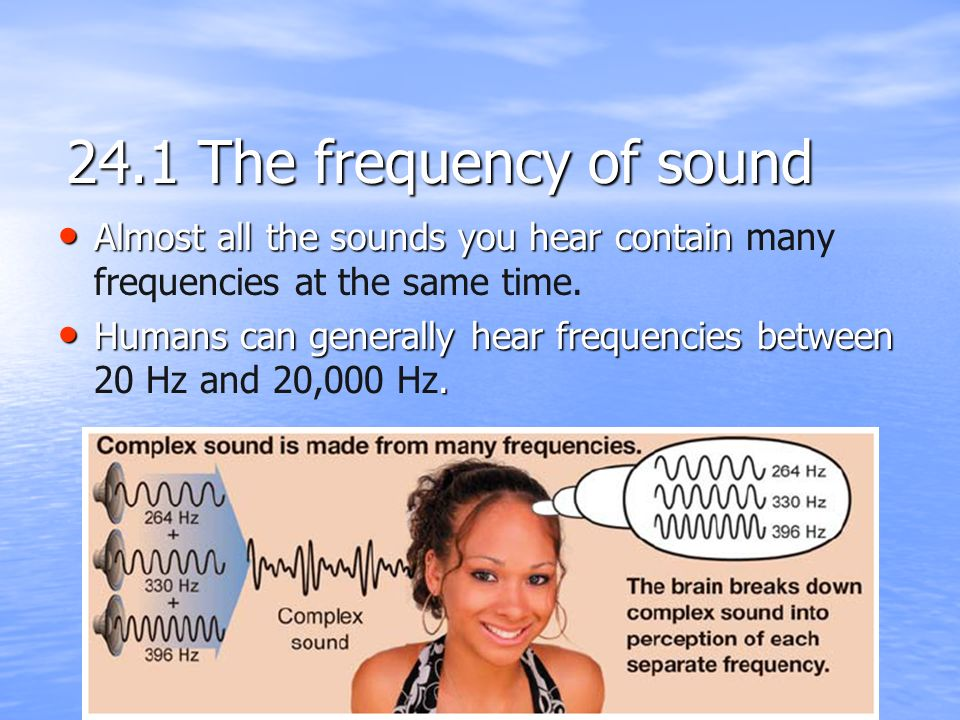 24.1 The frequency of sound Almost all the sounds you hear contain many frequencies at the same time.
