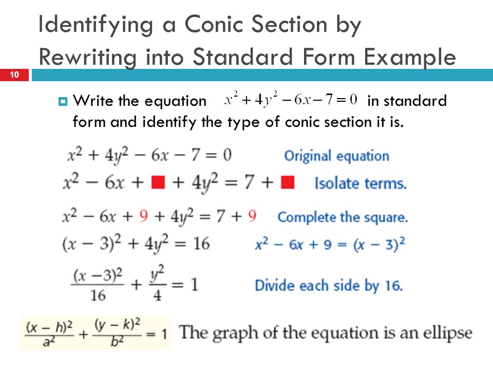 86 Conic Sections Types Standard Equation Forms Ppt Video Online
