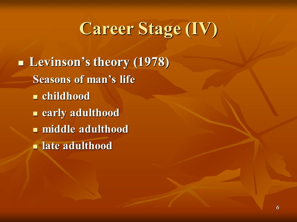 david levinson seasons of a mans David levinson: seasons' of a man's life introduction background in may of 1977, daniel levinson constructed a model of the season's of a mans life his developmental theory consists of universal stages or phases that extends from the infancy state to the elderly state.