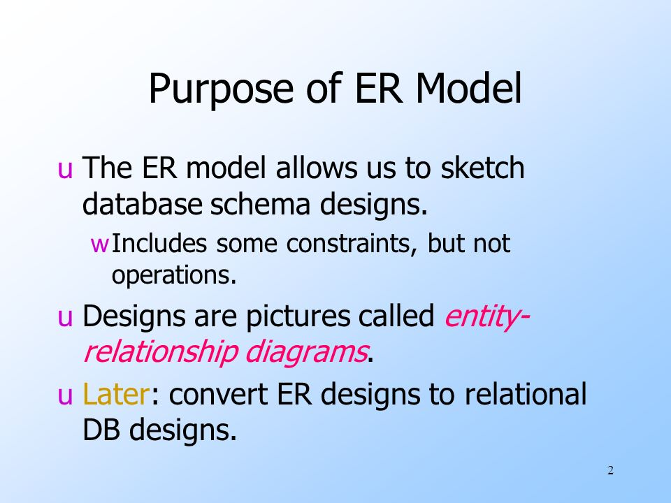 Entity relationship modelling er diagrams and eer diagrams some purpose of er model the er model allows us to sketch database schema designs includes ccuart Images