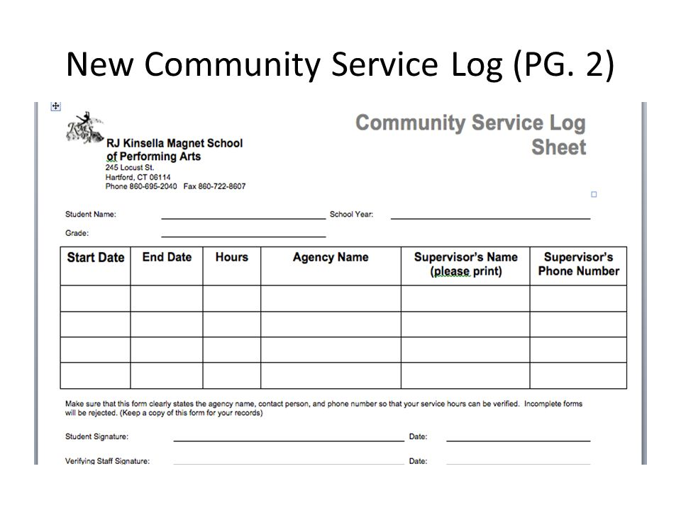 community service hours sheet for high school community service at kinsella magnet high school ppt 27148