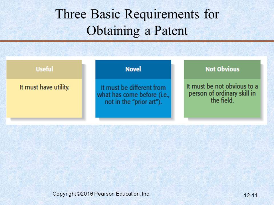 Three Basic Requirements for Obtaining a Patent