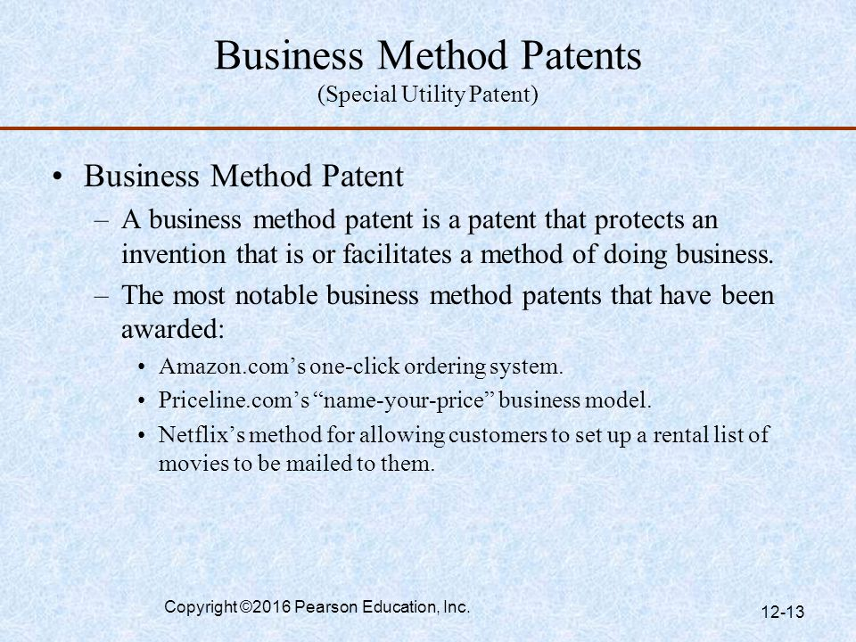 Business Method Patents (Special Utility Patent)