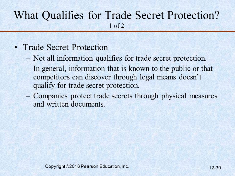 What Qualifies for Trade Secret Protection 1 of 2