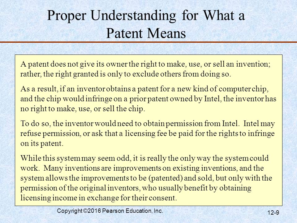 Proper Understanding for What a Patent Means