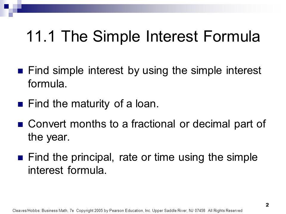 111 the simple interest formula