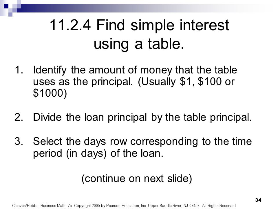 find simple interest using a table