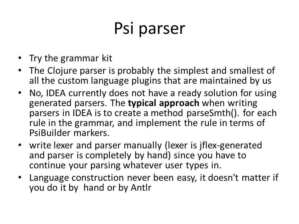 Psi parser Try the grammar kit