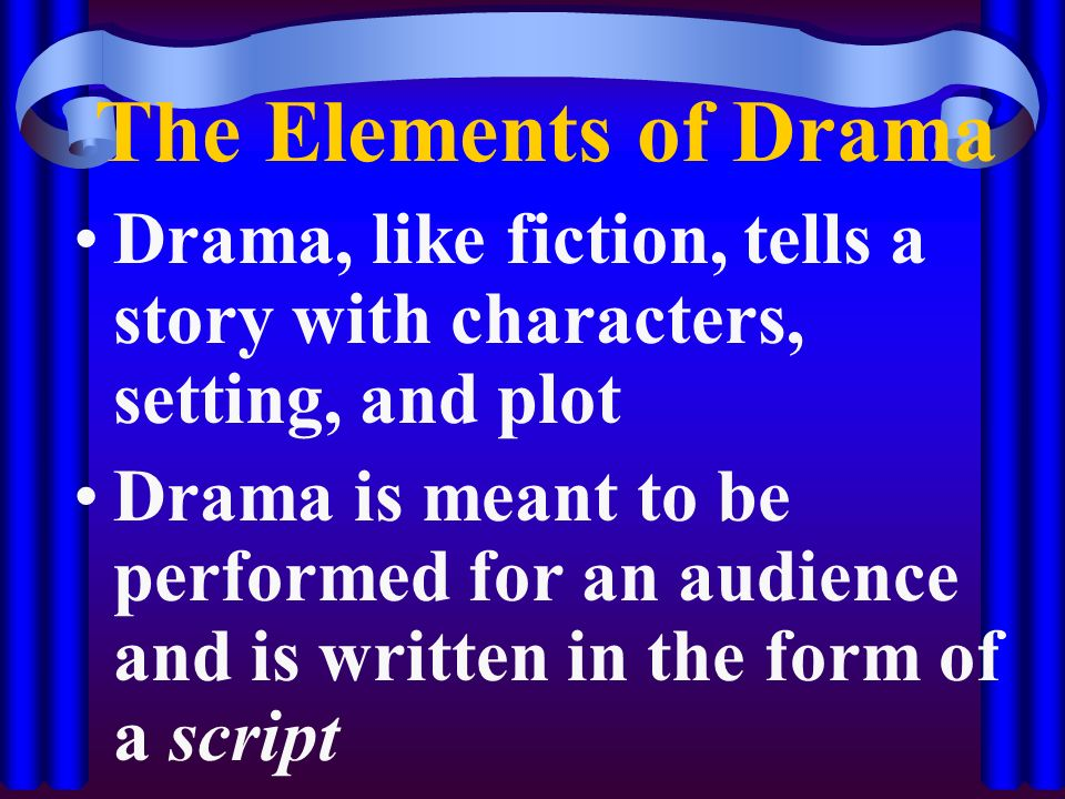 The Elements of Drama Drama, like fiction, tells a story with characters, setting, and plot.