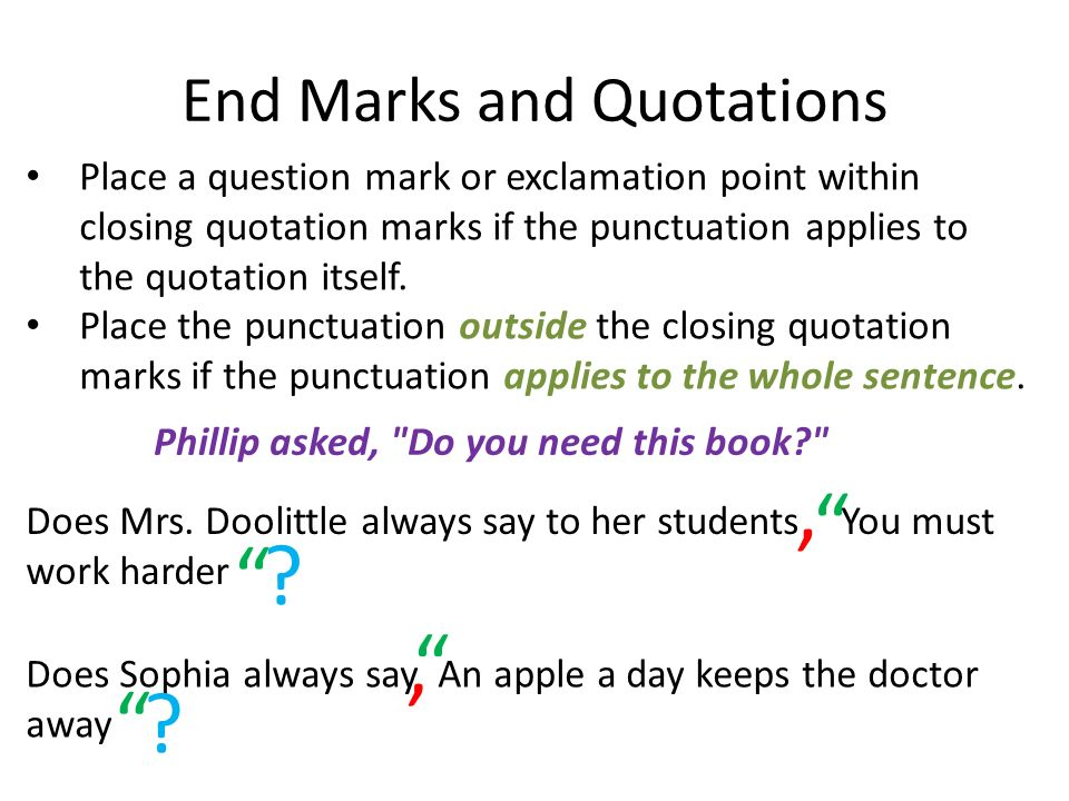 end marks and quotations