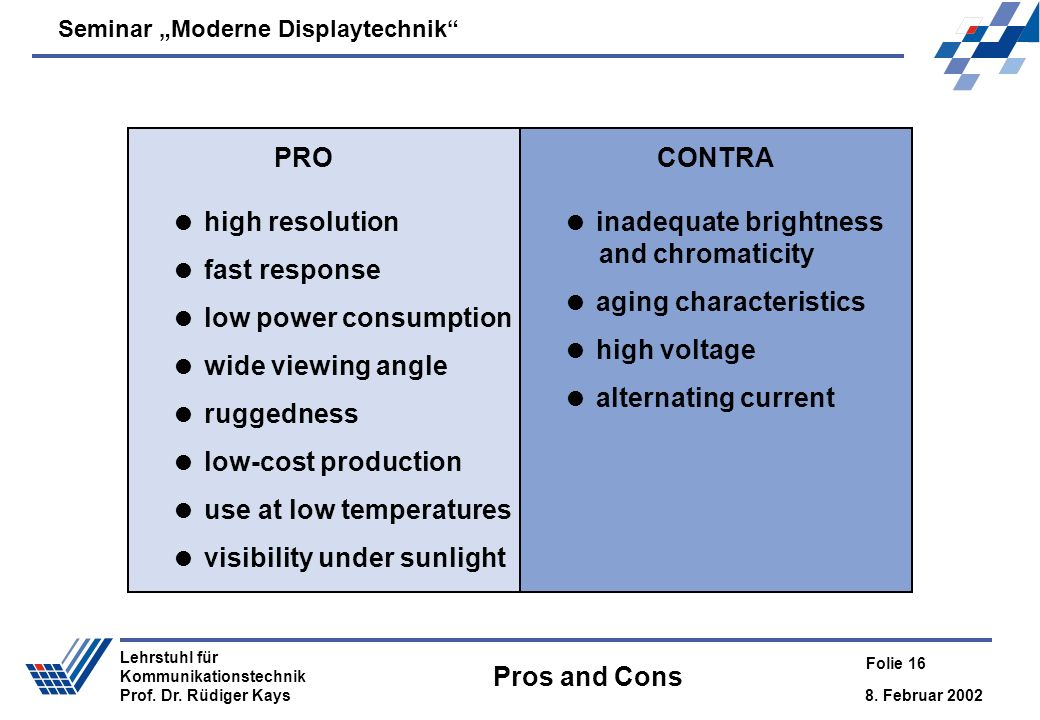 PRO CONTRA. high resolution. fast response. low power consumption. wide viewing angle. ruggedness.