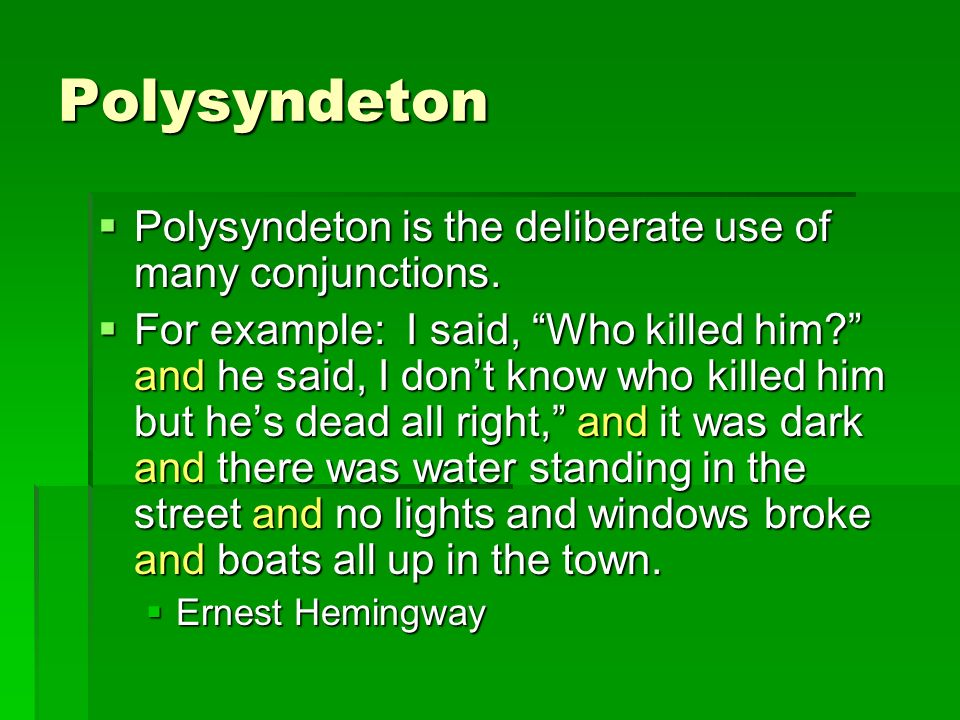 examples of polysyndeton in literature