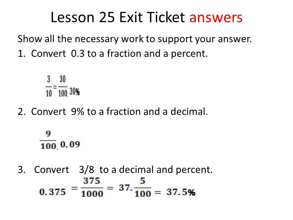 Exit Ticket Answers Show All The Necessary Work