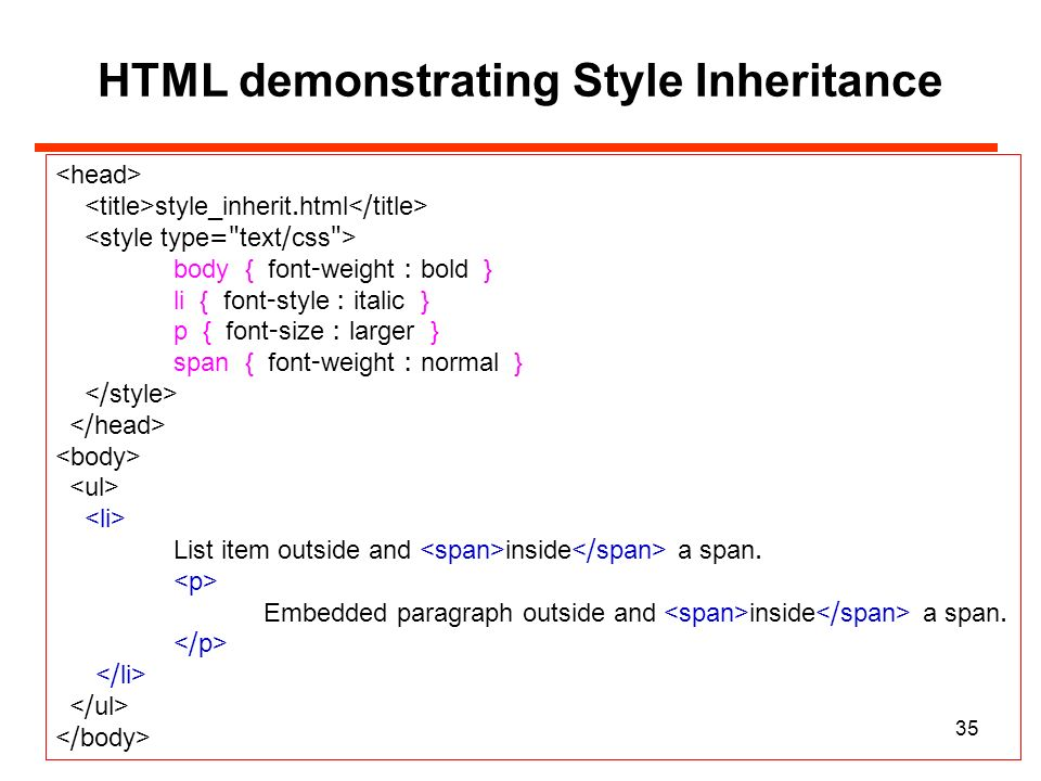 HTML Demonstrating Style Inheritance