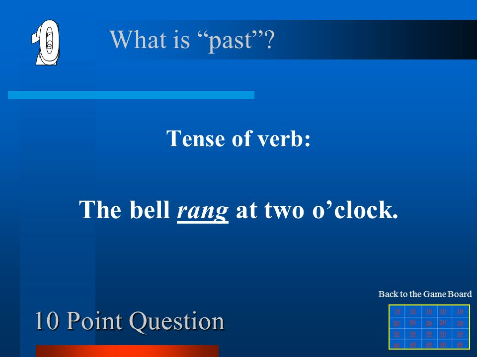 Jeopardy 20 Squares Verbs Start  - ppt video online download