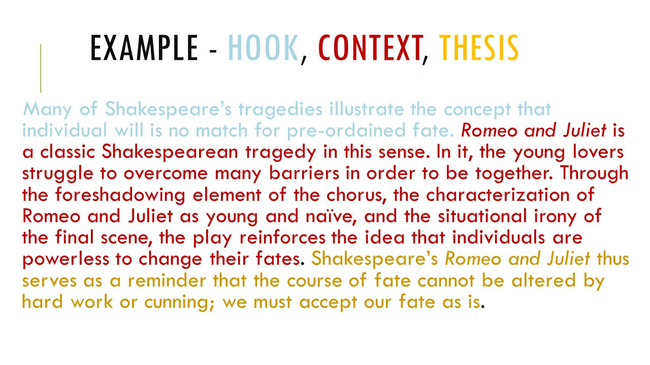 how to write a hook and thesis