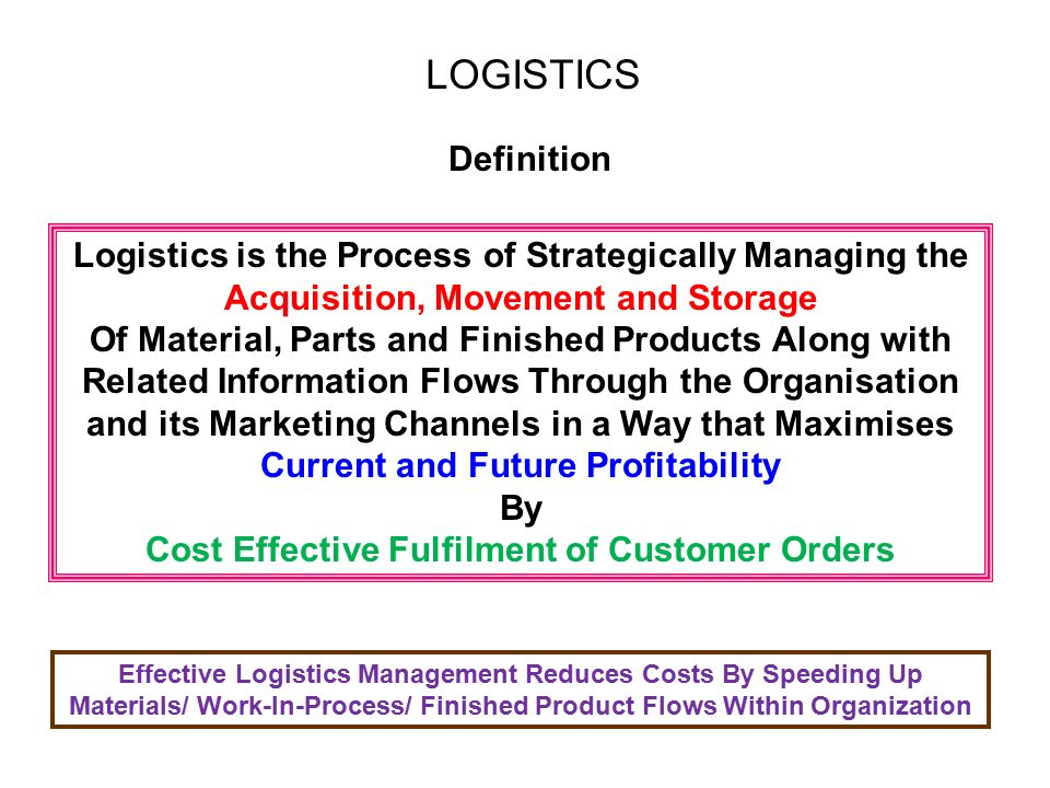 Summary -> What Is Logistics Management Definition And Meaning