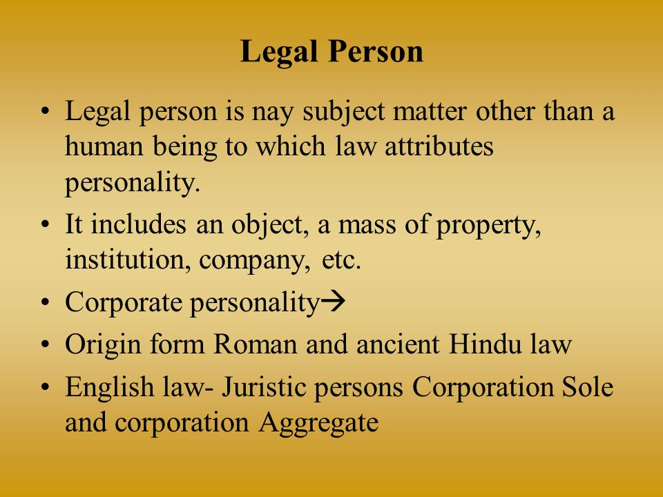 legal nature of juristic personality