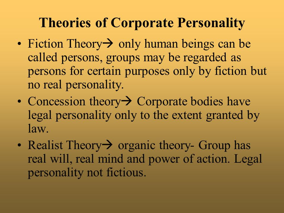 theories of corporate personality