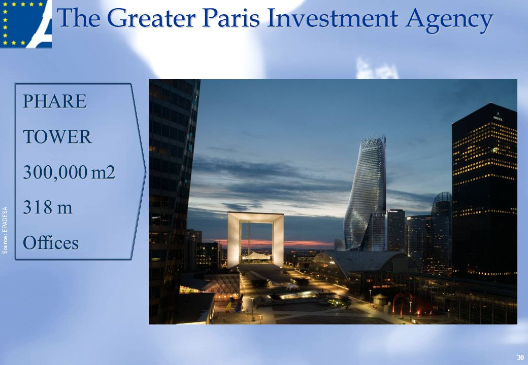 PHARE TOWER. 300,000 m m. Offices. Source : EPADESA.