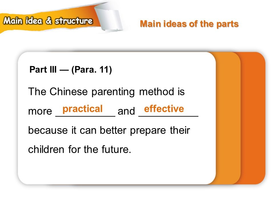Main ideas of the parts Main idea & structure. Part III — (Para. 11)