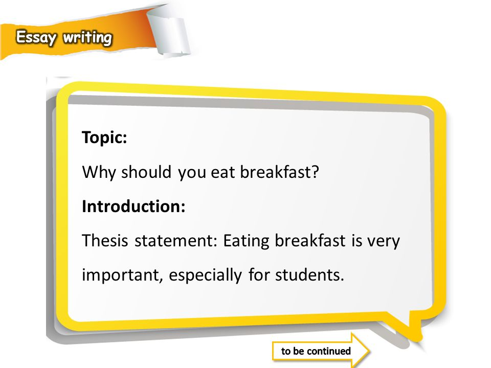Why should you eat breakfast Introduction: