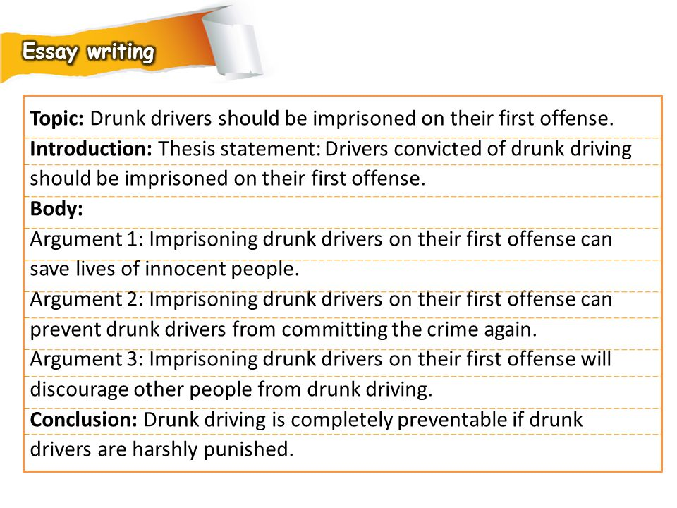 Topic: Drunk drivers should be imprisoned on their first offense.