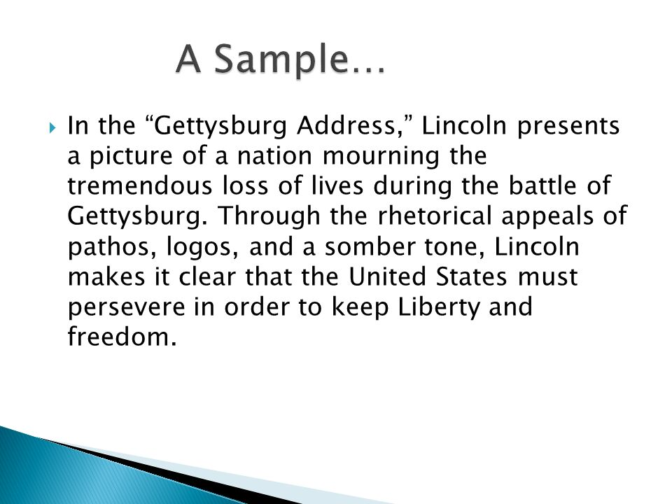 Gettysburg Address Rhetorical Analysis Workshop  Ppt Video Online   A Sample In The Gettysburg Address  Essay About Science also How To Write A Proposal For An Essay  Conscience Essay