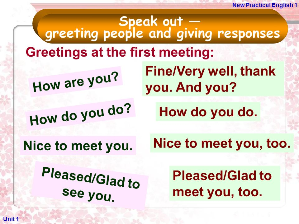 Unit 1 greeting and introducing people ppt video online download 5 greeting m4hsunfo