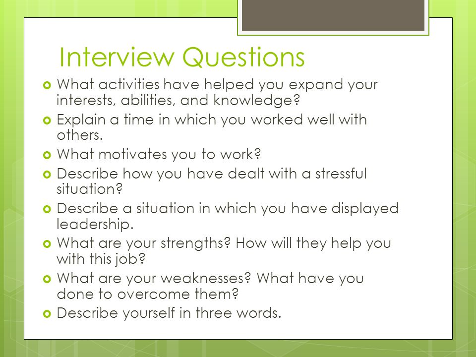 what are your interests job interview