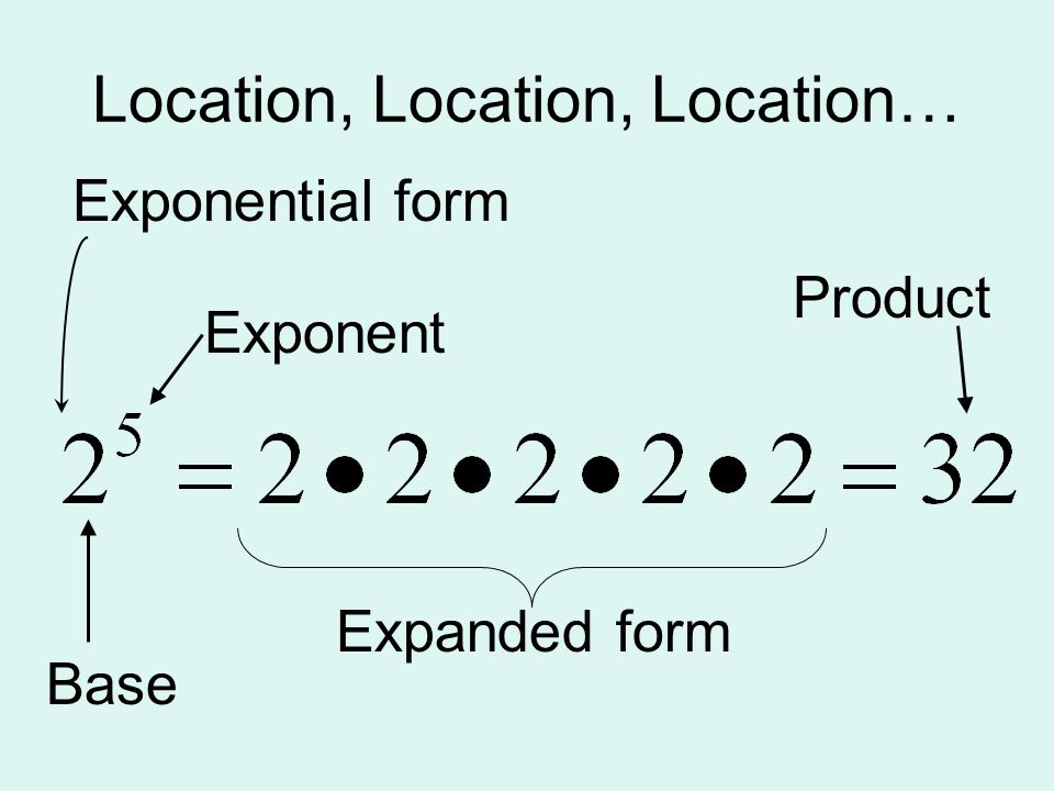 Powers And Exponents Lesson Ppt Video Online Download. Vocabulary Factors Base Exponent Evaluate Expanded Form 3 Location. Worksheet. Expanded Form With Exponents Worksheet At Mspartners.co
