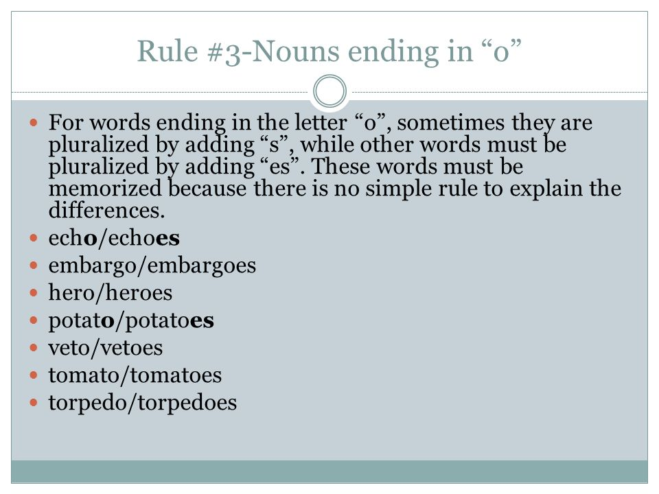5 letter words ending in es singular nouns plural using spelling ppt 25974 | Rule %233 Nouns ending in o